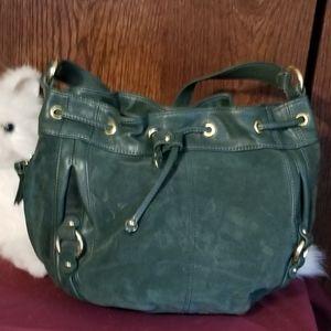 Tignanello green suede and leather purse.